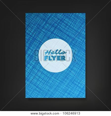 Hello Flyer - Flyer, Card or Cover Design with Striped Patter Background - Corporate Identity or Ad Design Template