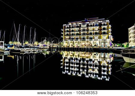 Hotel Regency In Marina Porto Montenegro In Tivat, Montenegro By Night