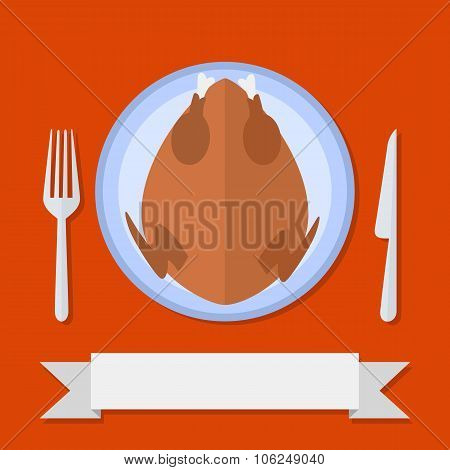 Flat style cooked turkey in plate