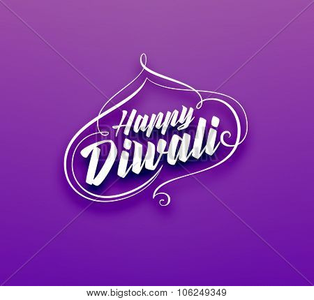 Happy Diwali Typographic Label. Calligraphic Style vector illustration.