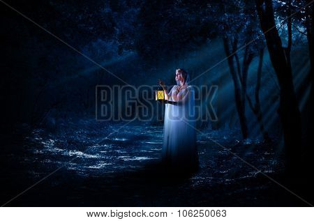 Young elven girl with lantern in night forest