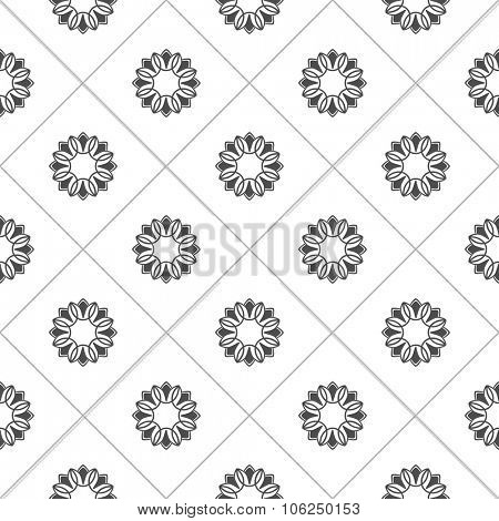 Pattern for coloring book. Ethnic, floral, retro, doodle, vector design elements. Black and white background. Doodle vector background square tiles