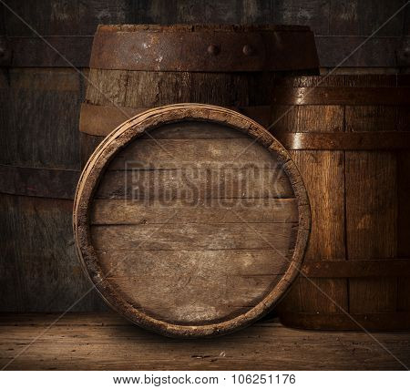 barrel for wine and beer in the basement