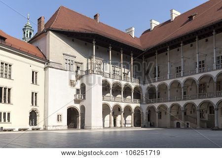 Arcaded Courtyard Of Royal Castle Wawel In Cracow In Poland