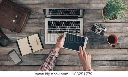 Hipster Desktop With Male Hands