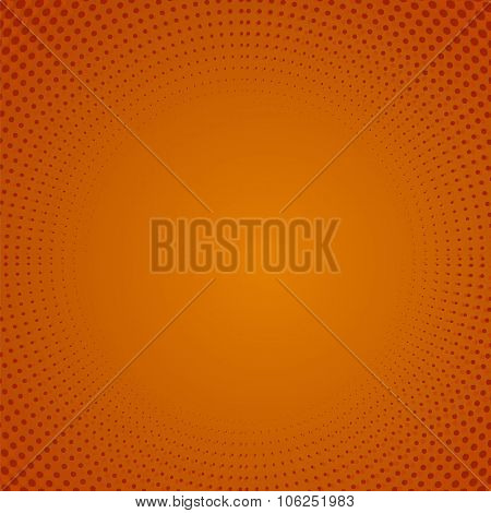 Halftone Pattern. Dots on Orange Background.