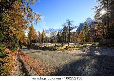 Mountain Pasture With Morning Frost And Road
