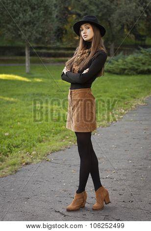Brunette Beauty In Autumn Clothes.