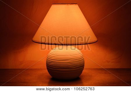 Bedside table with a light