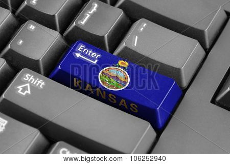 Enter Button With Kansas State Flag