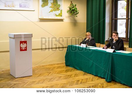 KRAKOW, POLAND - OCTOBER 25, 2015: At the polling station during polish parliamentary elections to both the Sejm and Senate.