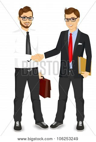 businessmen with glasses shaking hands