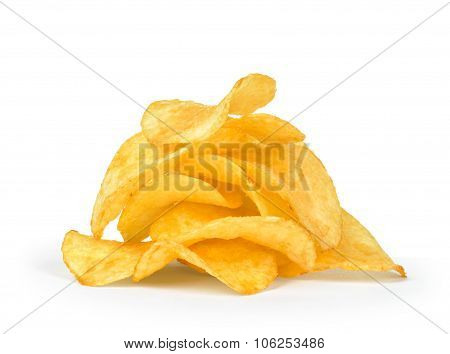 A Pile Of Potato Chips Isolated On White Background