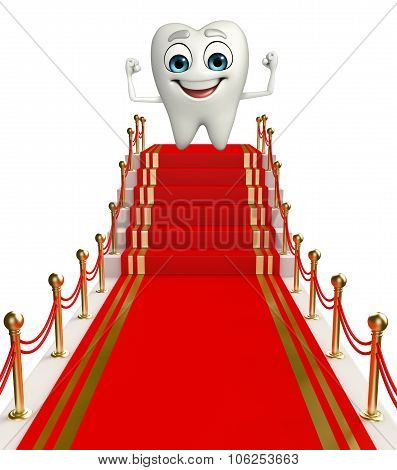 Teeth Character With Red Carpet