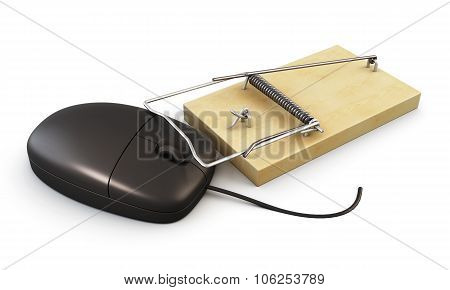 Computer Mouse In A Mousetrap. 3D.