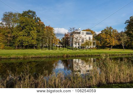 Old Villa On Sunny Day In Autumn