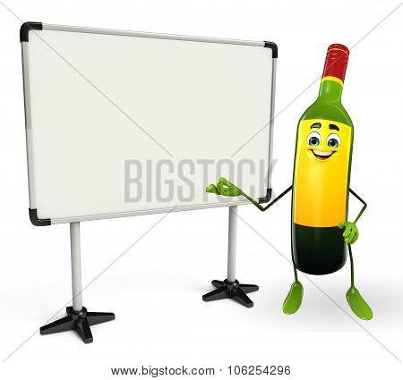 Wine Bottle Character With Display Board