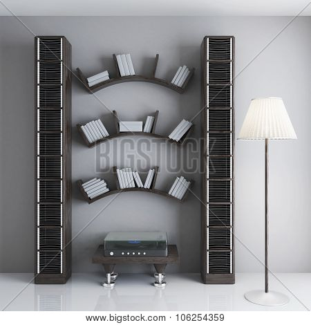 Interior With Shelves For Books, A Table With The Player And Racks For Discs. 3D.