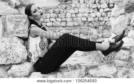 Beautiful Elegant Woman With Dark Hair Wears Elegant Clothes