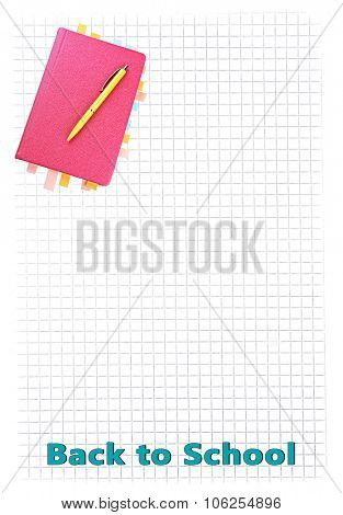 Notebook with bookmarks and pen on lined paper background