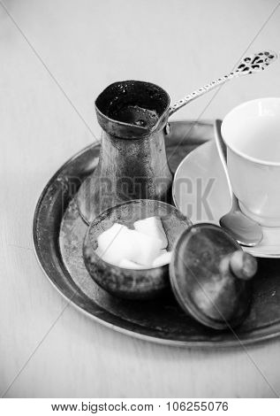 Turkish Coffee On Traditional Turkish Metal Dish