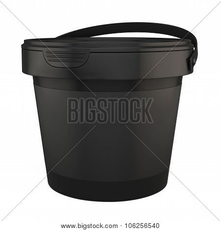 Black Plastic Buckets For Products. 3D.