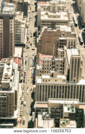 Skyscrapers And Everyday People Life In The Business District Of Johannesburg - Aerial View