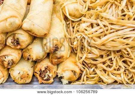 Deep Fried Spring Rolls With Noodles At Street Food Market - Concept Of Unhealthy Alimentation