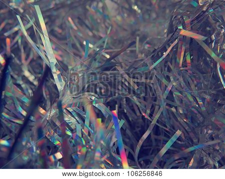 Silver fluffy festive tinsel closeup