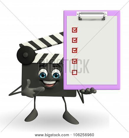 Clapper Board Character With Notepad