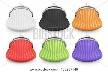 Set Of Purses Of Different Colors On A White Background