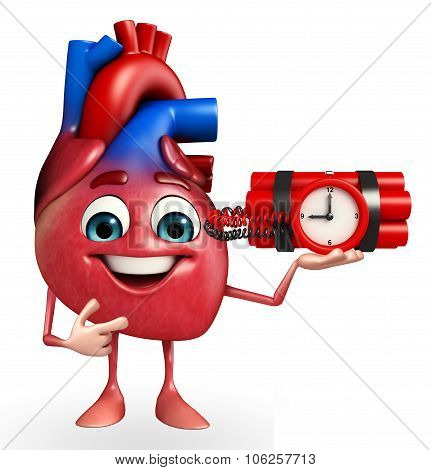 Heart Character With Time Bomb