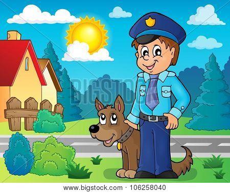 Policeman with guard dog image 3 - eps10 vector illustration.