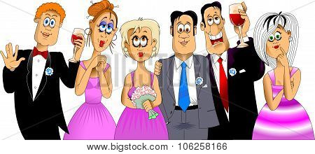 Three Men With Girlfriends At A Wedding