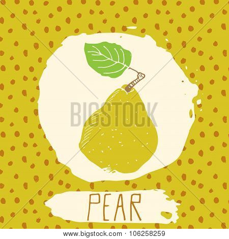 Pear Hand Drawn Sketched Fruit With Leaf On Background With Dots Pattern. Doodle Vector Pear For Log