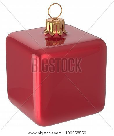 Christmas Ball Cube Geometric New Year's Eve Bauble Red
