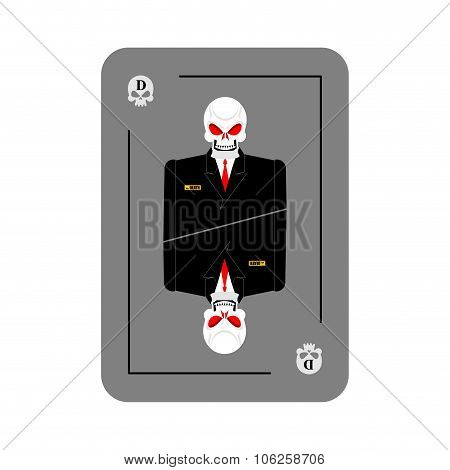 Card Death. Skeleton In Business Suit. New Concept Of . All Cards Wins, Brings D