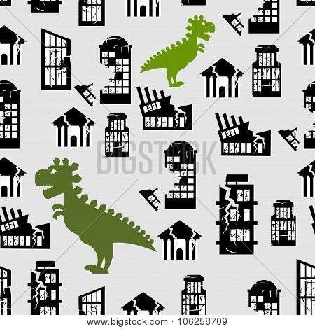 Godzilla Destroys  City Seamless Pattern. Great Monster Breaks Down Building. Destruction Of  City O