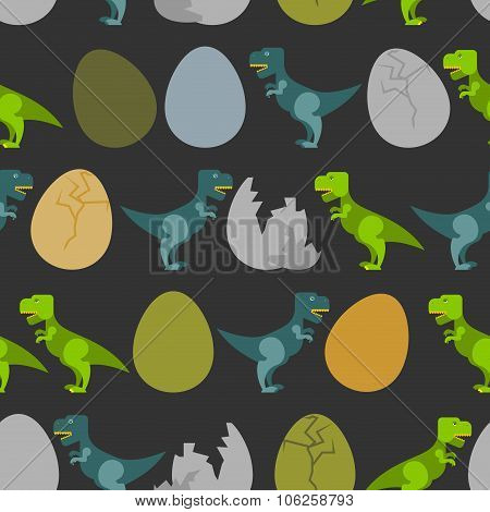 Tyrannosaurus And Egg. Hatched  Little T-rex Seamless Pattern. Ornament For Baby Tissue. Many Prehis