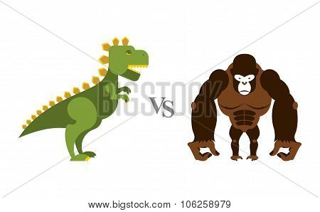 Dinosaur vs Gorilla. Battle monsters. Big wild monkey and scary dinosaur. Contest of destroyers.