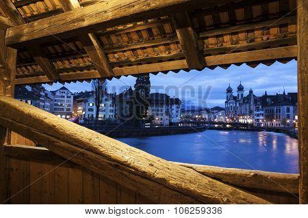 Lucerne Seen From Spreuer Bridge