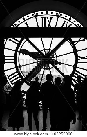Clock In The Museum D'orsay In Black & White, Paris, France