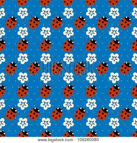 ladybugs with flowers seamless pattern