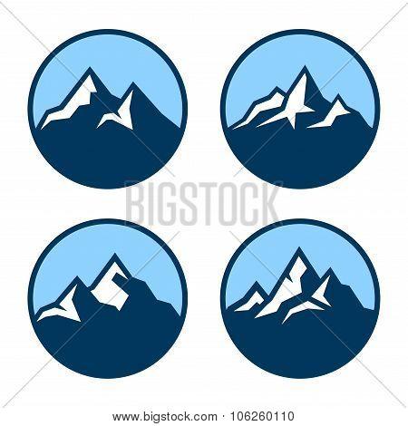 Mountain in Circle Logo Design Elements. Vector