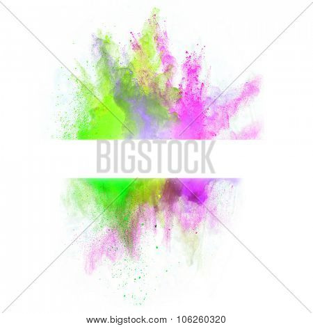 Launched colorful powder on white background