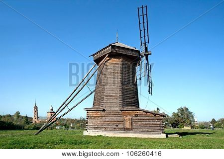 Old Wooden Windmill In Suzdal Town, Russia.