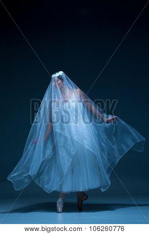 Portrait of the ballerina on blue background
