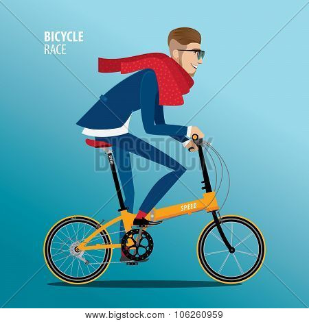 Fashionable Man Rides On A Folding Bike