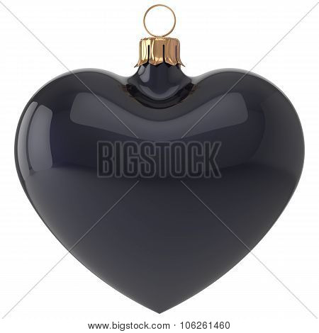 Christmas Ball Heart New Year's Eve Bauble Decoration Black