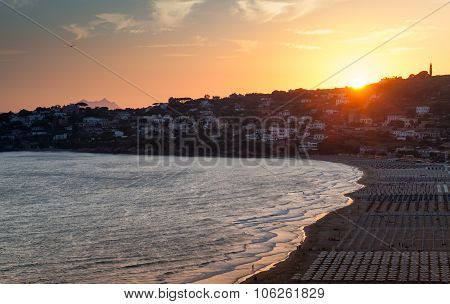 Mediterranean Sea Coast Landscape At Sunset
